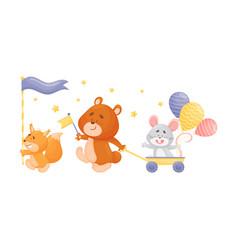 Cartoon squirrel bear and mouse at parade vector