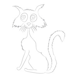 cat on halloween drawing lines vector image