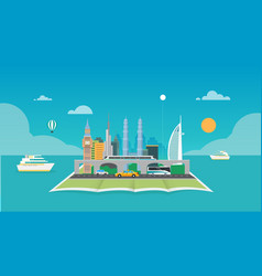 City with map and ocean background vector