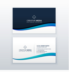 Clean blue wave business card design template vector