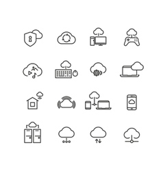 Cloud computing line icons vector