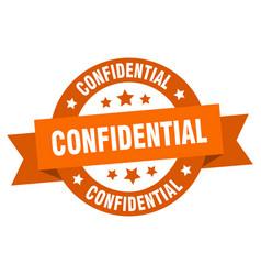 Confidential ribbon confidential round orange vector