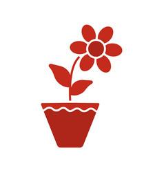 Crocus in flowerpot glyph color icon vector