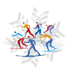 Cross country ski racers on snowflake symbol vector