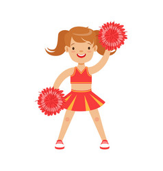 Cute little cheerleader girl dancing with red vector