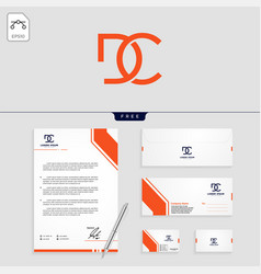 dc minimal logo template and stationery design vector image