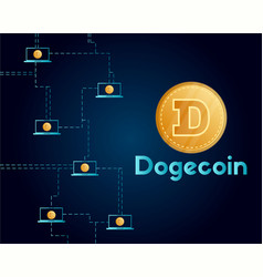 dogecoin technology networking style background vector image