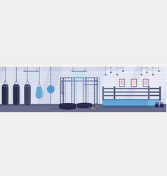 empty ring boxing arena with punching bags of vector image
