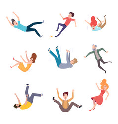 Falling persons old people fall on wet floor vector