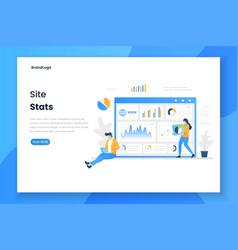 Flat design site stats landing page concept vector