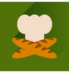 Flat icon with long shadow chef hat and baguettes vector