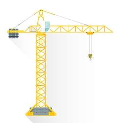 Flat style yellow tower building crane icon vector