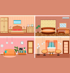 four living room interiors in one set bedroom and vector image