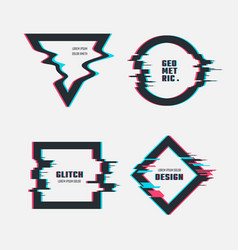frames with glitch tv distortion effect vector image