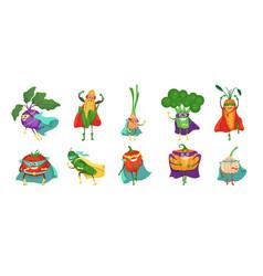 funny superhero vegetable cartoon character set vector image