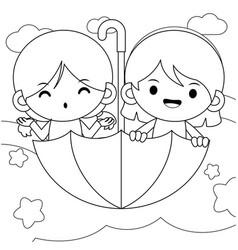 Girls riding flying umbrella coloring book vector