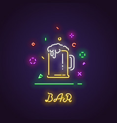 glass of beer neon sign vector image