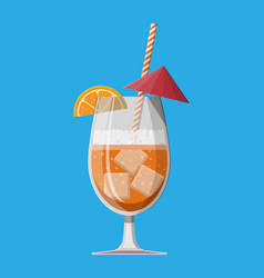 glass of cold drink alcohol cocktail vector image