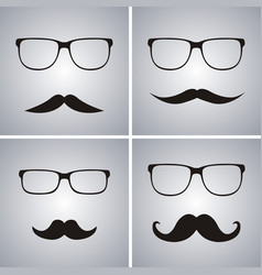 Glasses and mustache set simple glasses and vector