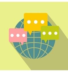 Global communication flat icon vector
