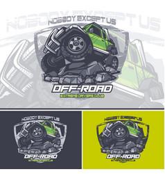 Green off road car logo on top a mountain vector