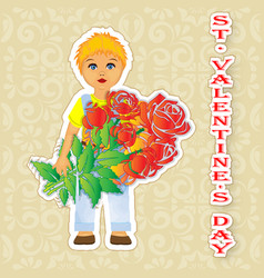 greeting card happy valentines day boy with vector image