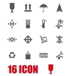 Grey marking cargo icon set vector