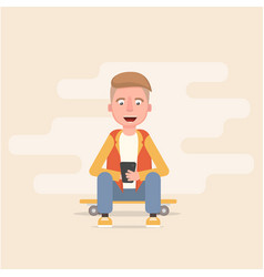 guy is sitting on the skateboard and looking vector image