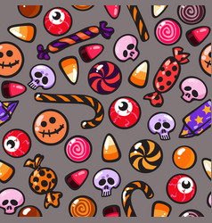 Halloween seamless pattern with cartoon candies on vector