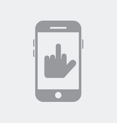 hand showing middle finger on smartphone vector image
