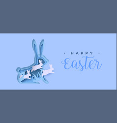happy easter paper cut card rabbit jumping vector image