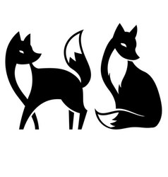 isolated fox black and white vector image