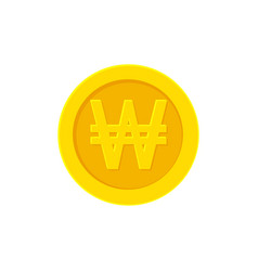 Korean won golden coin icon isolated on white vector
