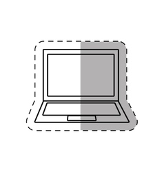 Laptop display keyboard device thin line vector