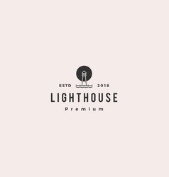 lighthouse logo icon line outline monoline vector image
