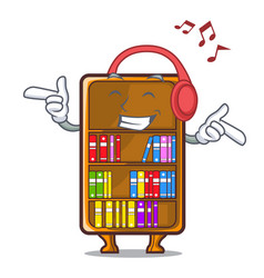 listening music bookcase isolated in the with vector image