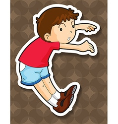 Little boy in red jumping vector