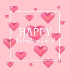 lovely pink valentines day card with 3d hearts vector image