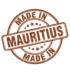 Made in mauritius brown grunge round stamp vector