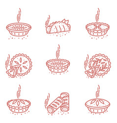 meat pie roll quiche vector image