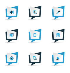 Media icons colored set with amplifier albums vector