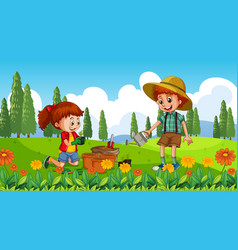 Nature scene background with boy and girl vector