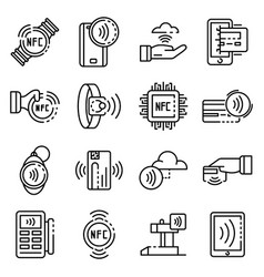 Nfc technology icons set outline style vector