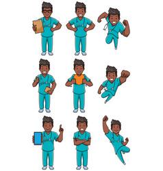 Nurse indian male set vector