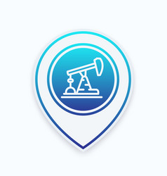 Oil pump line icon on map pointer vector