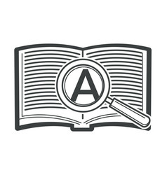 open book with magnifying glass and zoomed letter vector image