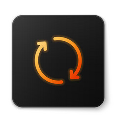 Orange glowing refresh icon isolated on white vector