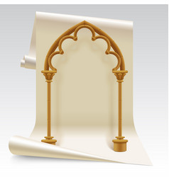 Paper sheet and brown gothic arch model vector