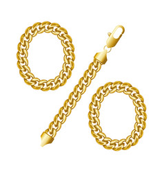 percent sign gold chain icon vector image