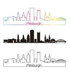 Pittsburgh v2 skypline linear style with rainbow vector